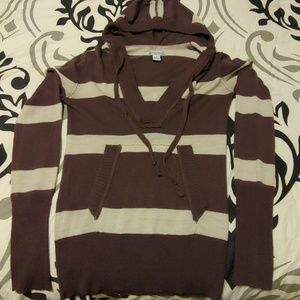 Brown striped, hooded sweater